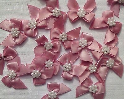 Satin Ribbon Bow With Pearls Dusty Pink Qty 10 Sewing Craft Embellishments