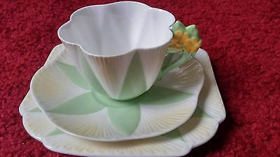 Shelley Rd272101 Pale green with white & cream flower handle Trio set#2