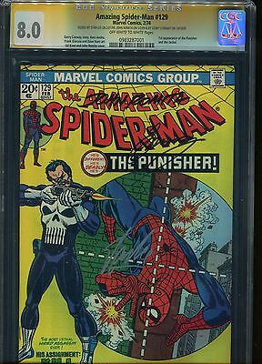 Amazing Spider-Man #129 CGC 8.0 Signed Stan Lee +2 1th app of the Punisher