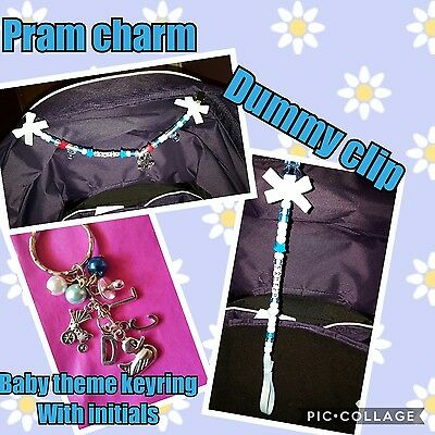 pram charm gift set includes large pram charm dunmy clip and baby theme keyring