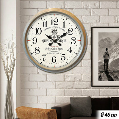 Vintage wall clock beige wood optic battery glass time display decoration metal