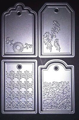 4x Label Tags Metal Cutting Dies Stencil Scrapbooking Album Embossing Craft DIY