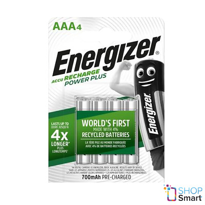 4 ENERGIZER RECHARGEABLE AAA HR03 BATTERIES POWER PLUS 1.2V 700mAh NEW