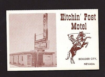 Postcard Boulder City NV Hitchin' Post Motel Al & Ingrid Bornhoft Owners  *1501