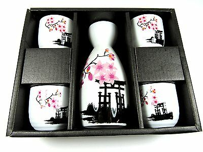 OliaDesign 5 Piece Ceramic White and Red Blossom Japanese Sake Set, White