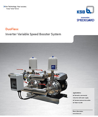 Booster, 2 pump, water supply pressure, variable speed, 300ltr/min 2.9bar
