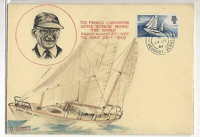 Gb Chichester Cover 1967 Hand Drawn First Day Cover