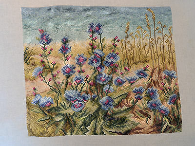 Gorgeous blue meadow flowers completed cross stitch picture
