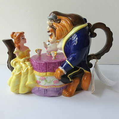 NIB Adorable Rare Beauty and the Beast Belle Disney Collectible Ceramic Teapot