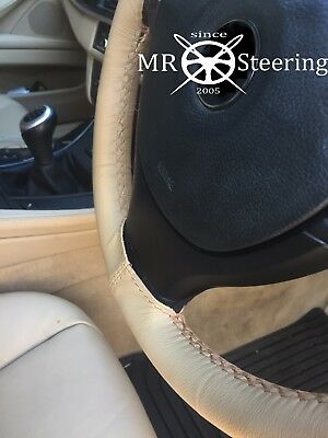 Lady style Car steering wheel cover Genuine Leather ronnd D Style 36cm Beige 7