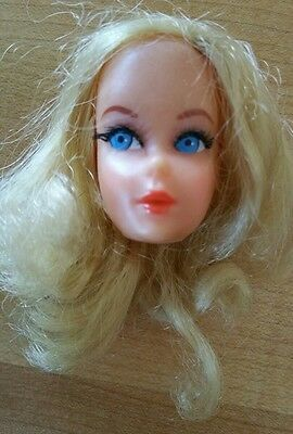 Vintage Mod Blonde Talking Barbie Head w/ Nape Curl Ponytail Hair