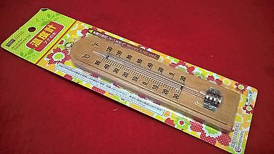 50C to -30C Indoor Mercury Free 19.5x5 cm Wall Beech Wood Thermometer Brown