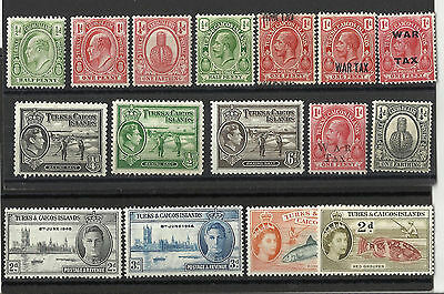Turks & Caicos Islands - KEVII - Early QEII - H/Mint & used selection