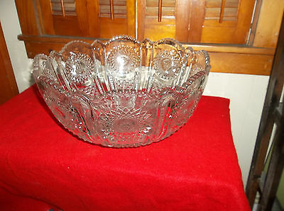 Antique Signed Heisey Beaded Panel & Sunburst Punch Bowl As Is