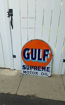 Original Double Sided Porcelain Gulf Supreme Motor Oil Sign