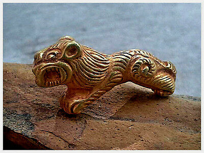 Intricate Old Solid PURE Gold 22K Big Paw Tiger Roaring Bead Pendant 3.36 grams
