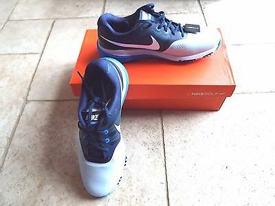 Nike Golf Lunar Command Spiked Golf Shoes White/Blue Size UK 9 from PGA Pro