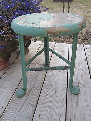 Antique Metal 3 Leg Milking Stool ~Green Chippy Paint ~Primitive Vtg Farm Decor