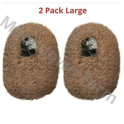 2 x Large Finch Coco Nesting Box - Cage Aviary Nest -11x15x15 Hooks on back