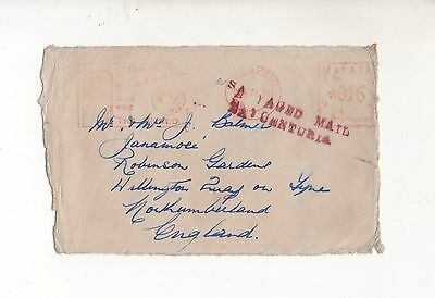 Malaya Salvaged Mail1939 Front Only. Salvaged Mail Ex-Centuria