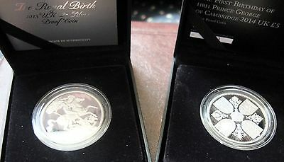 2013 / 2014 Set Of 2 Royal Birth & First Birthday Proof Silver Coins