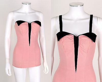 VTG 1950s CATALINA Pink Black Convertible Strapless Pin Up Bathing Swim Suit 36