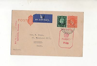 MOROCCO TANGIER 25.8.42 UPRATED 2d STATIONARY CARD TO UK