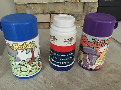 Very Rare Plastic Lunchbox Thermos Lot. Babar US Post Office And Wildfire