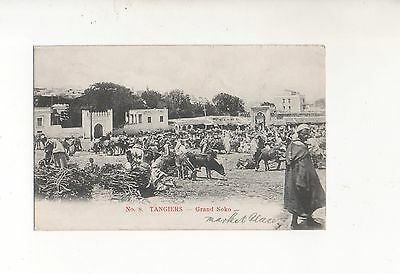 MOROCCO AGENCIES 1907 10c RATE POSTCARD No8 TANGIERS- GRAND SOKO