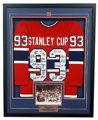 1993 Montreal Canadiens 21 Player Team Signed Stanley Cup Jersey 35x43 Frame