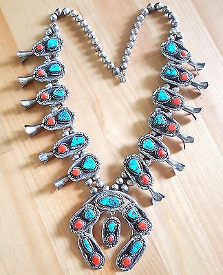 Vintage Navajo Sterling Silver Turquoise and Coral Squash Blossom Necklace