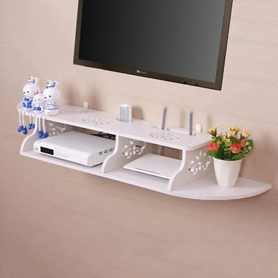 Floating Shelves 2 Tiers Wall Mount for DVD CD TV Book Display Storage Home Deco