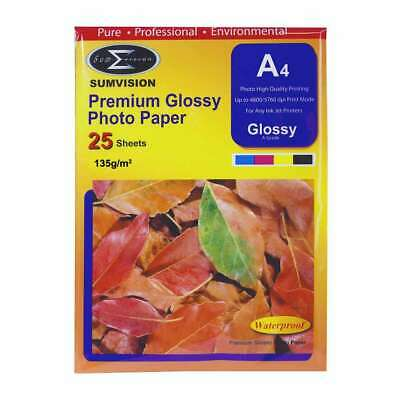 Sumvision 135g A4 Premium Glossy Inkjet Photo Paper (25 Sheets)