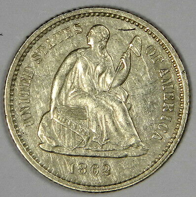 1862 Seated Half Dime - Nice Au/bu About Uncirculated Priced Right!