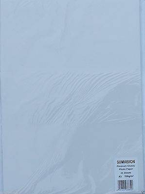 Sumvision A3 260gsm 25 Sheets Pack Premium Inkjet Printer Glossy Photo Paper
