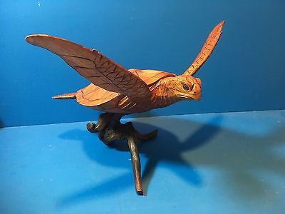 """SEA TURTLE- WOOD-HAND CARVED with DRIFTWOOD BASE,NICE DETAIL,large app. 13""""X15"""""""