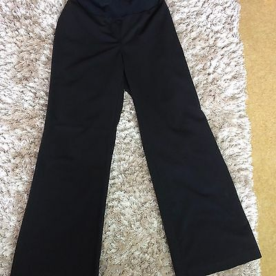 Ladies Black Wide Leg Over Bump Maternity Work Trousers Size 8 Dorothy Perkins