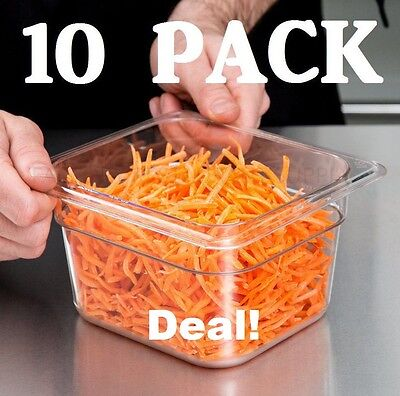 "10 PACK 1/6 Size Clear Plastic Steam Prep Table Food Pan 4"" Deep Polycarbonate"