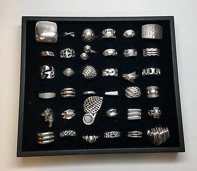 Lot Of 36 Sterling Silver Rings, Assorted Sizes (D)