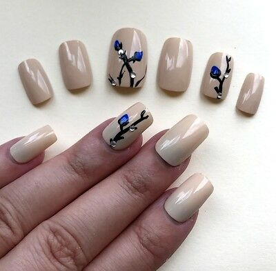 Hand Painted False Nails Square (Or Any Shape) Gloss Nude Cream & Blue Flower UK