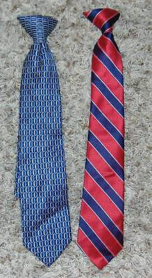 """LNC-2 Boys Dockers Red & Blue Silk & Polyester 14"""" Long Clip On Ties"""
