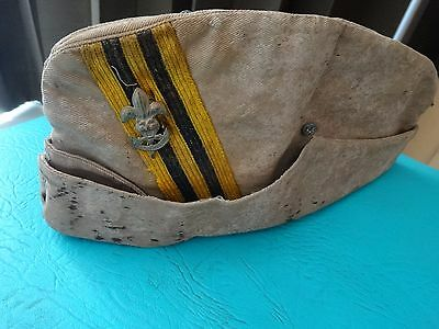 1 Thai boy scout side cap Thailand WW2 era 1940 Tiger head insignia