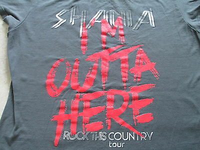 Shania Twain I'm Outta Here Rock This Country Tour Gray T Shirt M Medium L Large