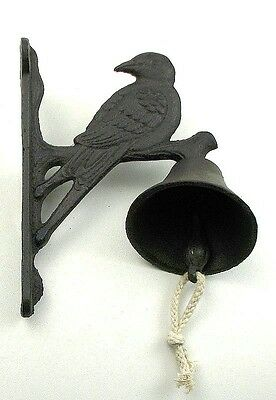 CAST IRON- Wall Mount Single Bird Bell  Rustic Brown Country  Decor