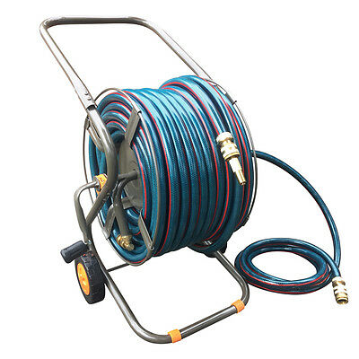HOLMAN Durable Steel Hose Reel Trolley with Garden Water Hose & Brass Fittings