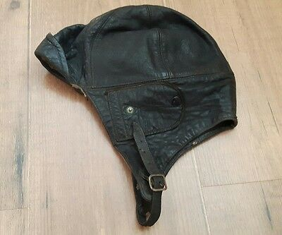 c.WWI British Air Force Pilot's Leather Flying Helmet With Newey Patent Studs