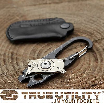 True Utility Fixr 20 In 1 Tool Multi-Tool With Leather Pouch & Karabiner Clip