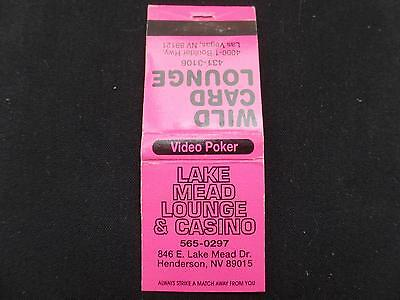 Lake Mead Casino Lounge Las Vegas Henderson Pink Matchbook Video Poker Vtg