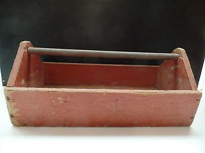 """Wooden Tool Garden Caddy Box Tote Holder Tray Pipe Handle Rustic Decor 22.5""""Vtg"""
