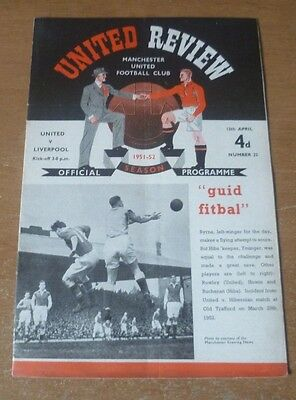 Manchester United (Champions) v Liverpool, 1951/52 - Division One Programme